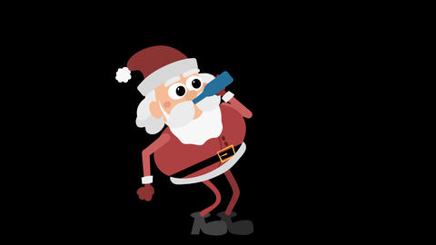 Santa Claus Animation Element 27 - drinking from a bottle Animación