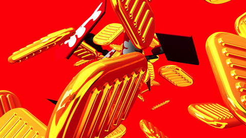 Oval gold coins and bags on red background Animation