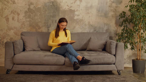 Intelligent woman reading a book on the couch Footage
