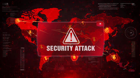 Security Attack Alert Warning Attack on Screen World Map Loop Motion Live Action