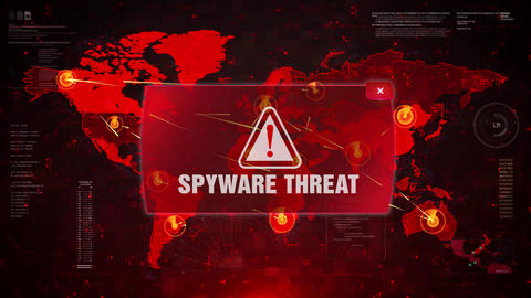 SPYWARE THREAT Alert Warning Attack on Screen World Map Loop Motion Live Action