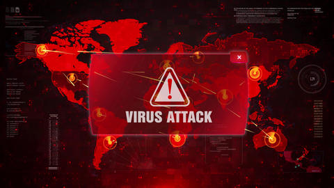 Virus Attack Alert Warning Attack on Screen World Map Loop Motion Live Action
