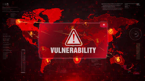 Vulnerability Alert Warning Attack on Screen World Map Loop Motion Live Action