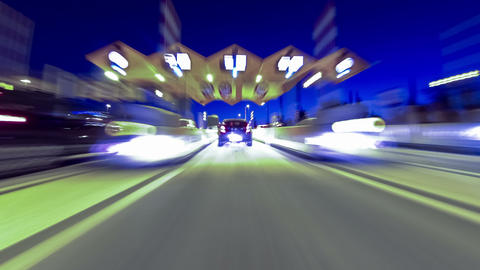 Fast driving at dusk.Vehicle shot Footage