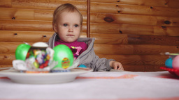 Easter breakfast with painted eggs Footage