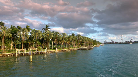 Beautiful islands around Miami with exclusive celebrity mansions Footage