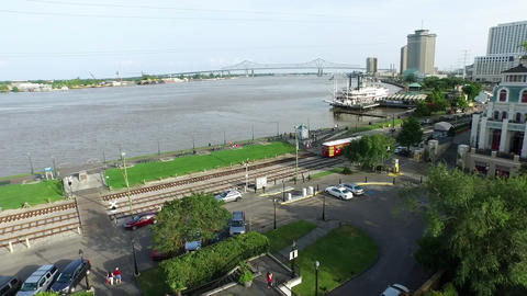 Aerial view from french quarter to trolley cars at mississippi river new orleans Footage