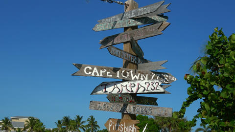 Direction signs in Key West to other big cities Footage
