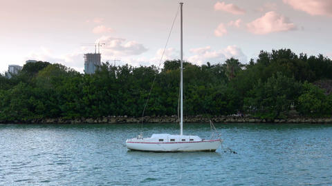 Small boat near the small islands of Miami Footage