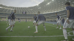 The players warming up before a match Footage