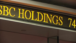 HSBC HOLDINGS SHARE AND STOCK PRICE TICKER INSIDE ASIAN STOCK MARKET Footage