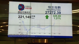 LED screen showing stock market status in Hong Kong Stock Market Footage
