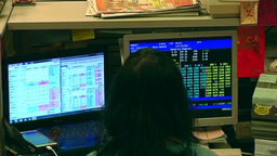 Trader in stock market trading stocks Footage