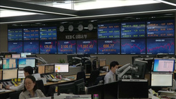 ELECTRONIC BOARD SHOWING KOSPI AND USD KRW EXCHANGE RATE Footage