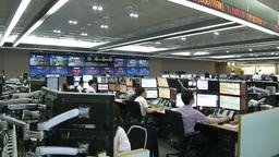 INTERIOR OF DEALING ROOM AT KOREA EXCHANGE BANK EMERGING MARKETS Footage