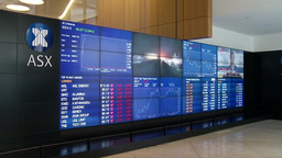 INSIDE SYDNEY STOCK EXCHANGE ELECTRONIC BOARD DISPLAYING STOCKS Footage