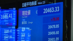 ELECTRONIC STOCK BOARD SHOWING NIKKEI TOKYO STOCK EXCHANGE ASIAN MARKETS Footage