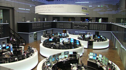 STOCK MARKET COMPUTER SCREENS AND TRADERS AT STOCK EXCHANGE Footage