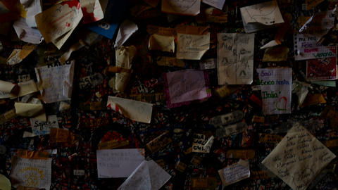 little cards with a loving dedication on the wall of Juliet's balcony Footage