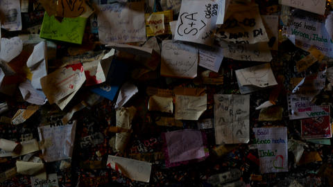 little cards with a loving dedication on the wall of... Stock Video Footage