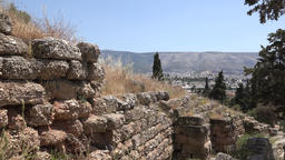 Greece Athens ruins with dry grass at hillside of Acropolis 영상물