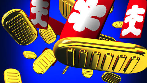 Oval gold coins and bags on blue background CG動画