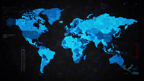Terrorist Attack Alert Warning Attack on Screen World Map Live Action