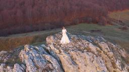Bride in white wedding dress standing on a cliff. Aerial drone 4k movie ビデオ