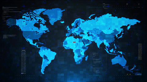Threat Detected Alert Warning Attack on Screen World Map Live Action