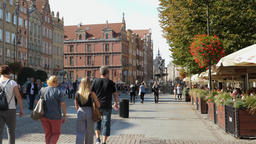 People strolling in the old town in Gdansk, Poland Live Action