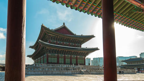 Seoul, Korea time lapse of Gyeongbokgung Palace in Seoul, South Korea Timelapse Live Action