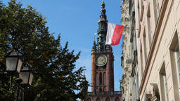 Town Hall building and Polish flag in Gdansk, Poland Footage