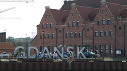Gdansk, Poland. The inscription Gdansk in the old town Live Action