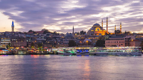 Istanbul skyline time lapse, Istanbul cityscape skyline with view of Suleymaniye Footage