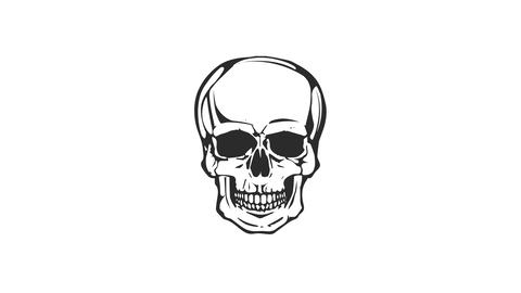 Dead Skull Head Laughing Loop Animation
