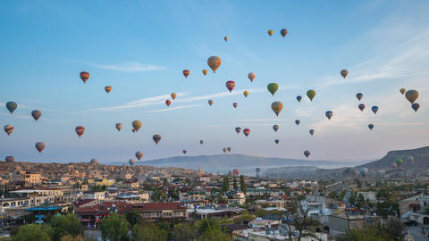 Cappadocia time lapse, Balloon are flying in Cappadocia with view of Goreme Footage
