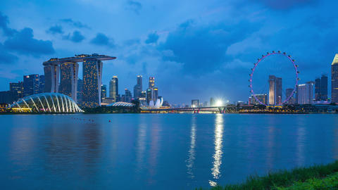 Singapore skyline day to night time lapse with landmark buildings in Singapore Footage