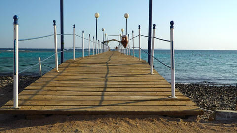 POV walking along a bridge near the Red Sea, Egypt GIF