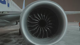 A closeup of an airplane engine Footage