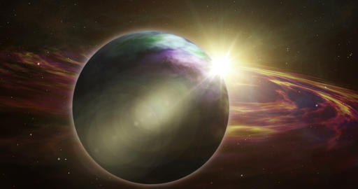 Exoplanet sunrise and space exploration Animation