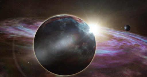 Exoplanet sunrise and cosmos exploration Animation