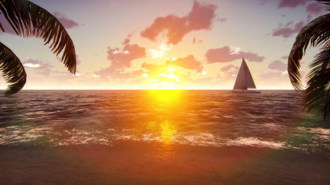 The yacht sails past a tropical island on the background of a beautiful sunset Animation