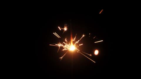 Christmas sparkler lights on black background Live Action