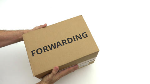 Courier delivers carton with FORWARDING text on it Live Action
