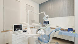 Dental clinic: room with dental chair and medical equipment Live Action