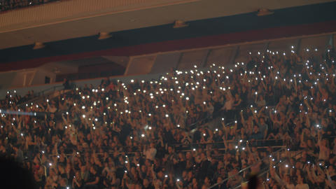 Large audience inside an arena music concert Footage