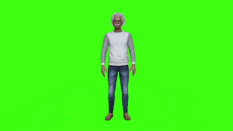 an Old Man Stands and Explains Something,green screen Footage