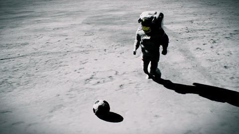Two astronauts play football on the moon. Realistic cinematic 3D background Animation
