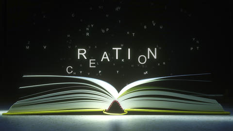 CREATION caption made of glowing letters from the open book. 3D animation ライブ動画
