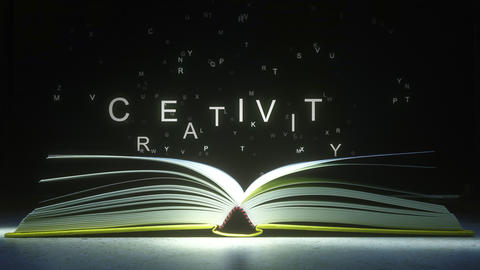 CREATIVITY text made of glowing letters vaporizing from open book. 3D animation Footage
